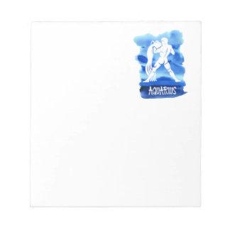 Zodiac Aquarius Stylized Sign Blue Watercolor Notepad