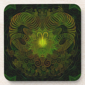 Zodiac Aries coasters with cork back - set of 6