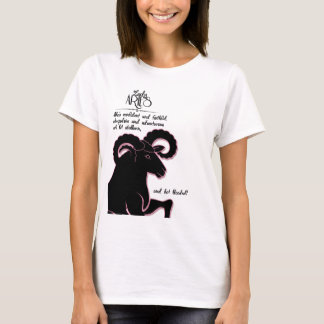 Zodiac Aries Ram with Traits for Her T-Shirt