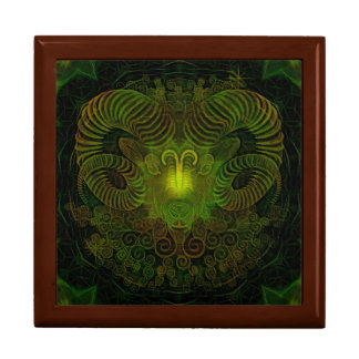 "Zodiac Aries Square w/6"" Tile Gift Box, Golden Oak Gift Box"