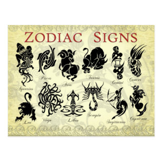 Zodiac Astrological signs Post Card