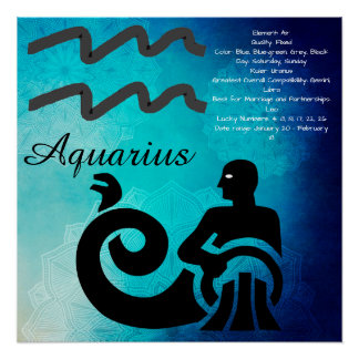 Zodiac Astrology Horoscope Sign Aquarius Poster Perfect Poster