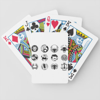 Zodiac astrology horoscope star signs icon set bicycle playing cards