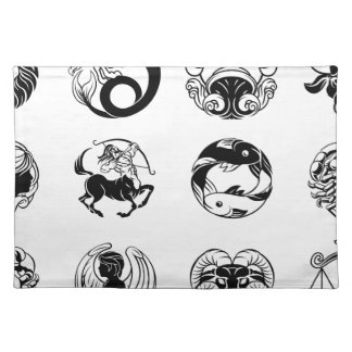 Zodiac astrology horoscope star signs icon set placemat