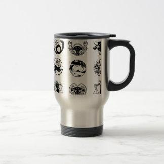 Zodiac astrology horoscope star signs icon set travel mug