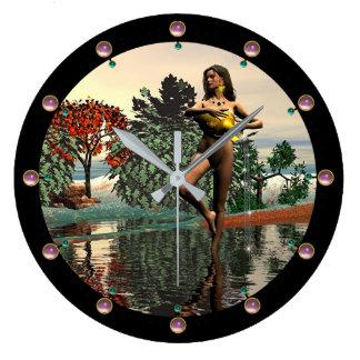 ZODIAC BIRTHDAY SIGNS /AQUARIUS Pink Gems Large Clock