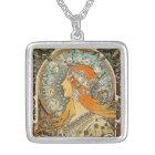 Zodiac by Alphonse Mucha Silver Plated Necklace