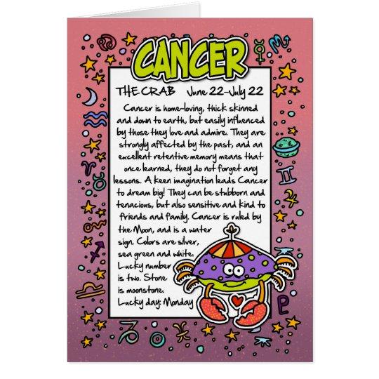 Zodiac - Cancer Fun Facts Card