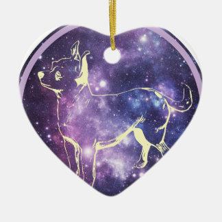 Zodiac Chihuahua Ceramic Heart Ornament