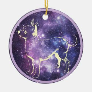 Zodiac Chihuahua Round Ceramic Ornament