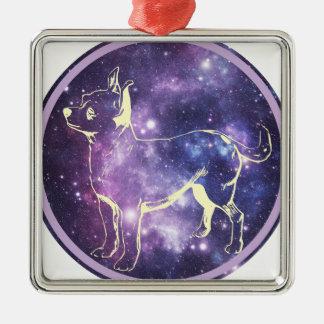 Zodiac Chihuahua Silver-Colored Square Ornament