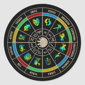 Zodiac Color Wheel Classic Round Sticker