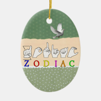 ZODIAC FINGERSPELLED ASL NAME  SIGN CERAMIC ORNAMENT