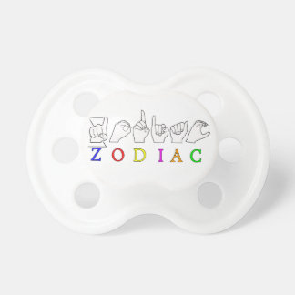 ZODIAC FINGERSPELLED ASL NAME  SIGN PACIFIER