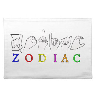 ZODIAC FINGERSPELLED ASL NAME  SIGN PLACEMAT