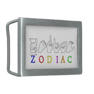 ZODIAC FINGERSPELLED ASL NAME  SIGN RECTANGULAR BELT BUCKLE