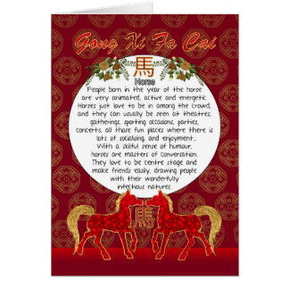 Zodiac Fun facts, Chinese New Year, Year Of Horse Card