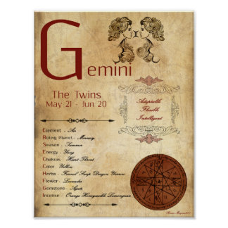 ZODIAC GEMINI  Birth Sign POSTER
