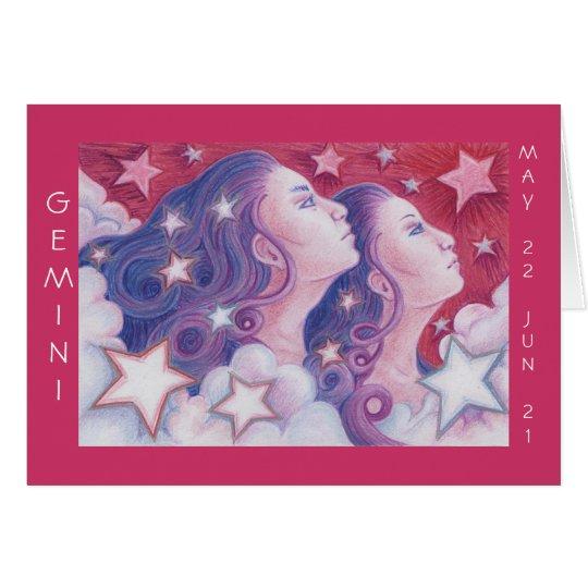 Zodiac Gemini 'Happy Birthday' greetings card