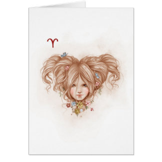Zodiac Girl Greeting Card: Aries Card