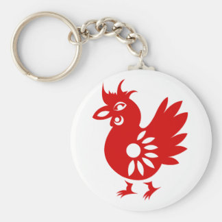 ZODIAC PAPERCUT ROOSTER ILLUSTRATION BASIC ROUND BUTTON KEYCHAIN