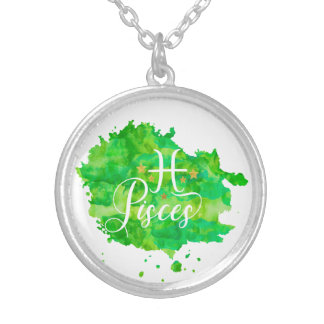 Zodiac Pisces Green Watercolor Gold Stars Silver Plated Necklace