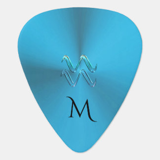 Zodiac Sign Aquarius Colorful Monogram Guitar Pick