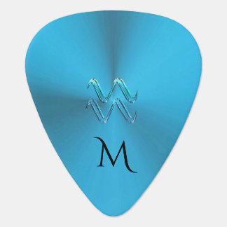Zodiac Sign Aquarius Colourful Monogram Guitar Guitar Pick