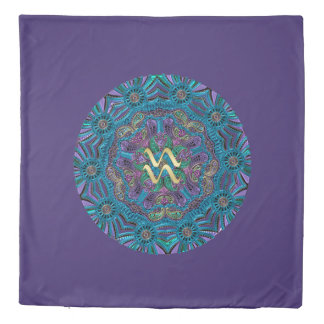 Zodiac Sign Aquarius Mandala Duvet Cover