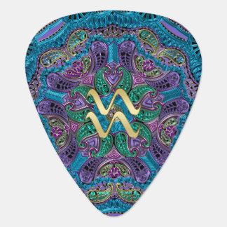 Zodiac Sign Aquarius Mandala Monogram Guitar Pick