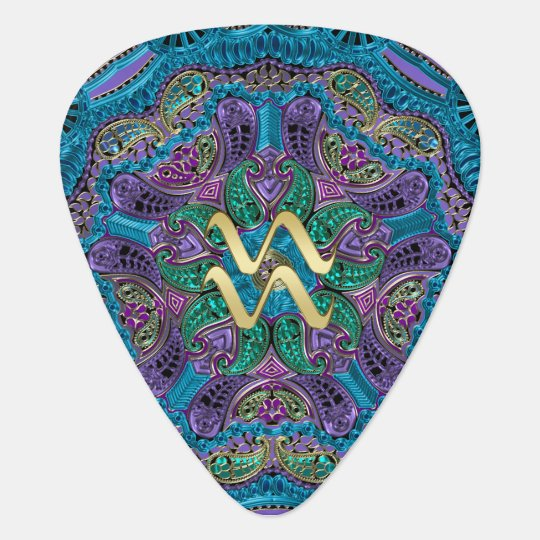 Zodiac Sign Aquarius Mandala Monogram Guitar Pick
