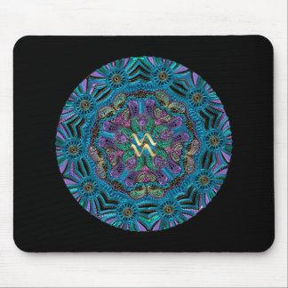 Zodiac Sign Aquarius Mandala Mouse Pad