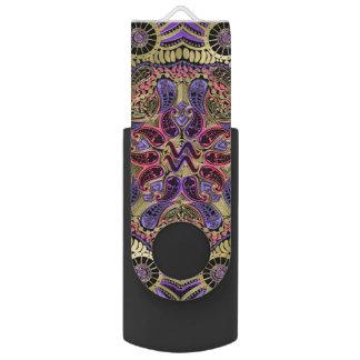 Zodiac Sign Aquarius Mandala Swivel USB 2.0 Flash Drive