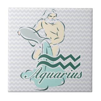 Zodiac Sign Aquarius Symbol Ceramic Tiles