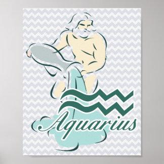 Zodiac Sign Aquarius Symbol Poster