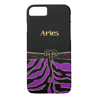 Zodiac Sign Aries Purple Zebra iPhone 7 Case