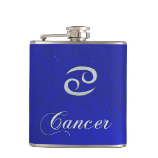 Zodiac Sign Cancer Blue Leather Look Hip Flask