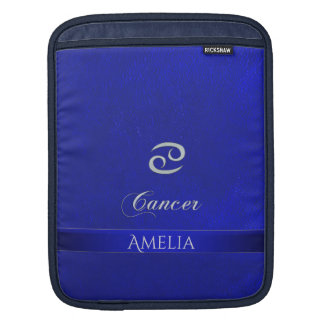 Zodiac Sign Cancer Blue Leather Look iPad Sleeve