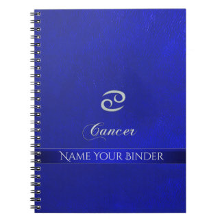 Zodiac Sign Cancer Blue Leather Look Spiral Notebook