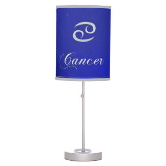 Zodiac Sign Cancer Blue Leather Look Table Lamp