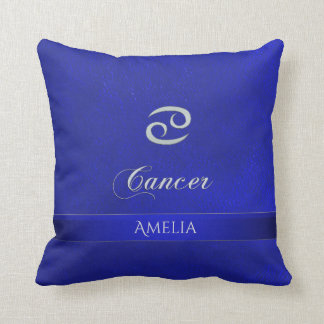 Zodiac Sign Cancer Blue Leather Look Throw Pillow