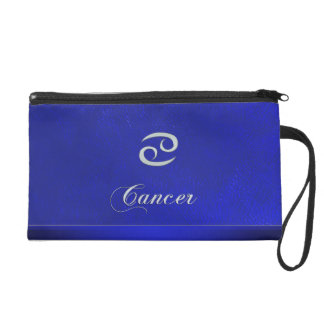 Zodiac Sign Cancer Blue Leather Look Wristlet
