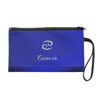 Zodiac Sign Cancer Blue Leather Look Wristlet Clutches