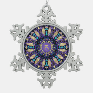 Zodiac Sign Capricorn Mandala Pewter Snowflake Ornament