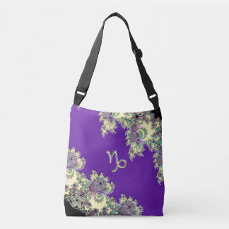 Zodiac Sign Capricorn Purple Fractal Crossbody Bag