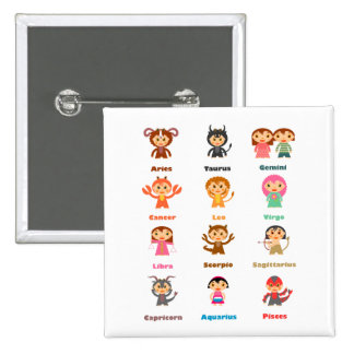 Zodiac Sign for Kids 2 Inch Square Button