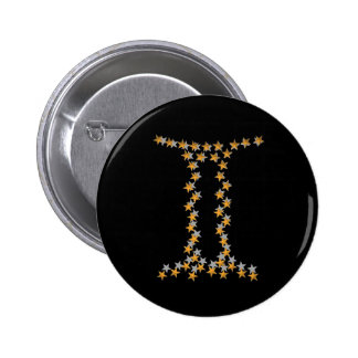 zodiac sign gemini 2 inch round button