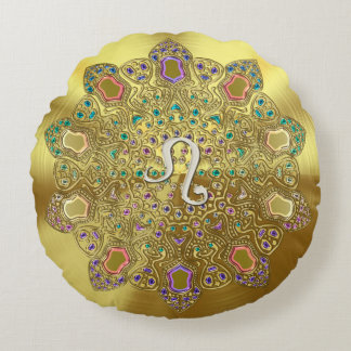 Zodiac Sign Gemini Rainbow Zebra Design Round Pillow