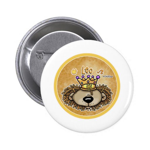 Zodiac Sign - Leo The Lion - July & August Buttons