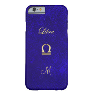 Zodiac Sign Libra Blue Leather Look Barely There iPhone 6 Case